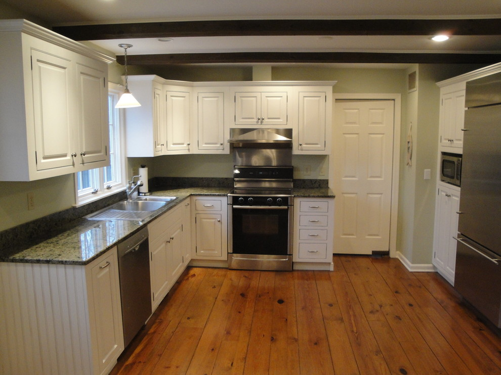 Soft White Cabinets with Rub-Through - Traditional ...