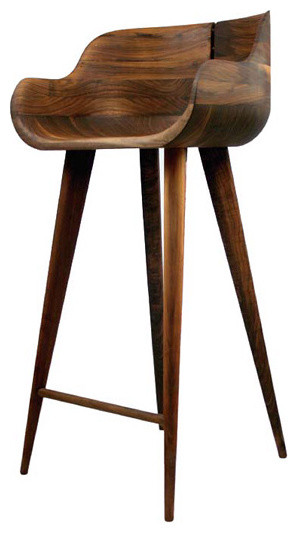 Solid American Walnut Bar Stools Contemporary Kitchen