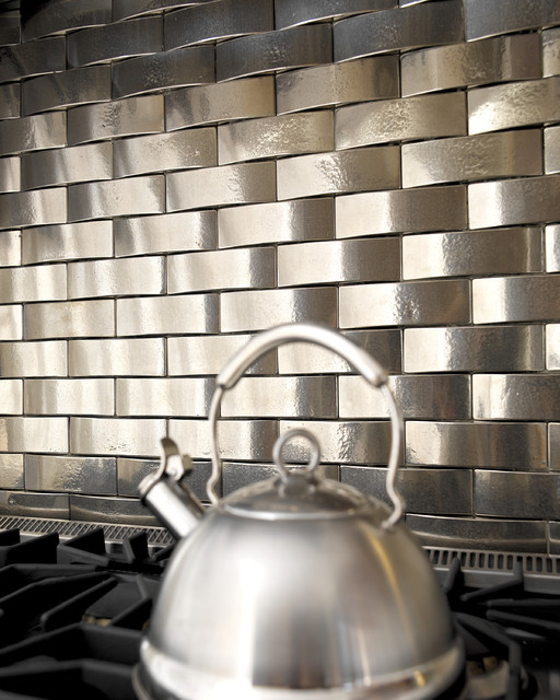 Solid Bronze Tile Backsplash Over Stove Traditional Kitchen