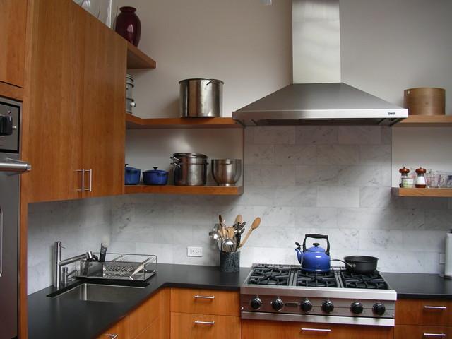 Kitchen Backsplash Tile Cherry Cabinets solid cherry cabinets, marble subway tile backsplash, stainless