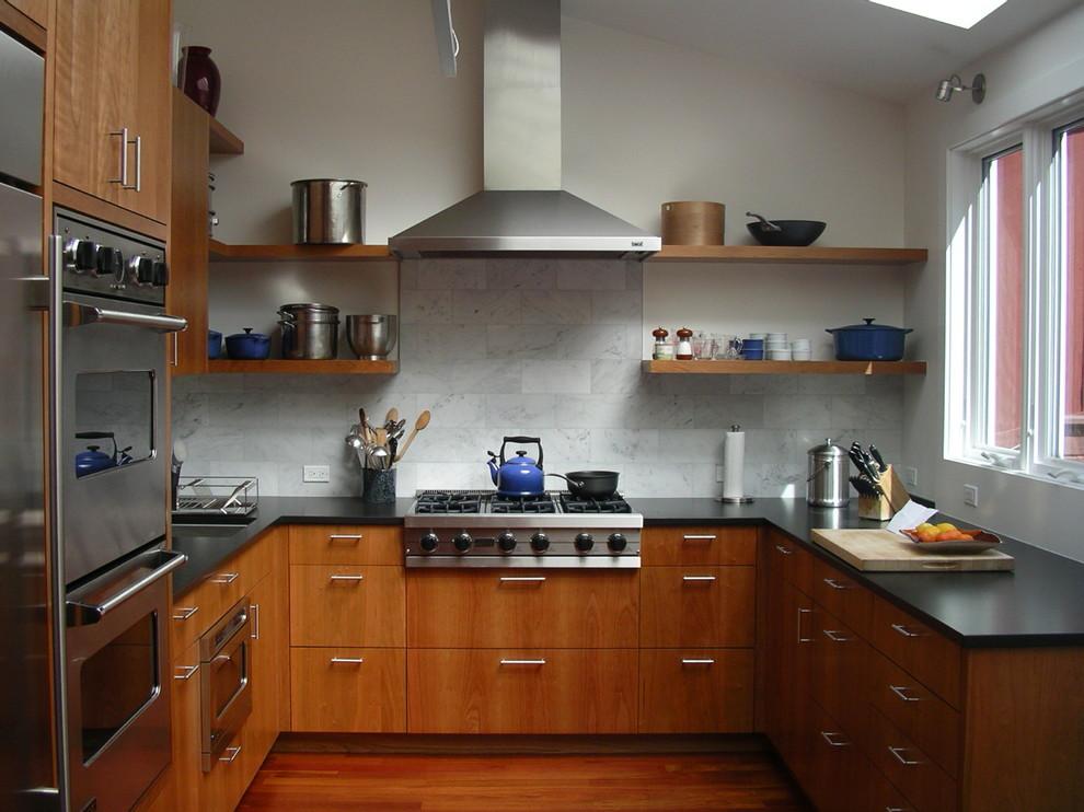 Trendy u-shaped kitchen photo in San Francisco with stainless steel appliances, open cabinets, medium tone wood cabinets, white backsplash and marble backsplash