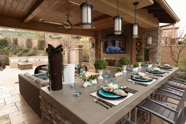 Solid patio cover california room modern kitchen for California outdoor kitchen designs