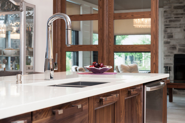 Solid Walnut White Velvet Laquer With Quartz Counter Top Contemporary Kitchen Montreal