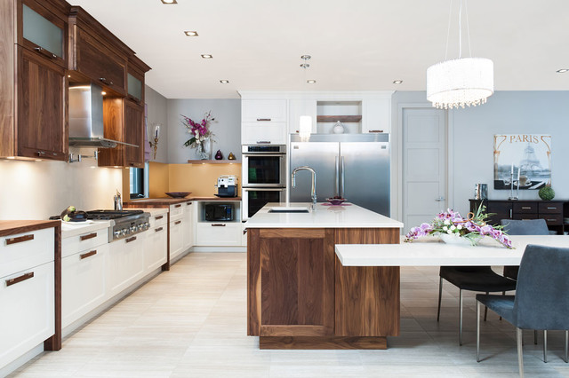 kitchen design montreal solid walnut amp white velvet laquer with quartz counter top 990