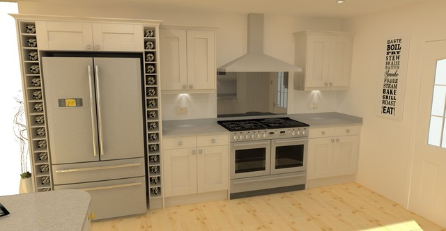 Solid Wood Shaker Kitchen In Light Grey Built Around An