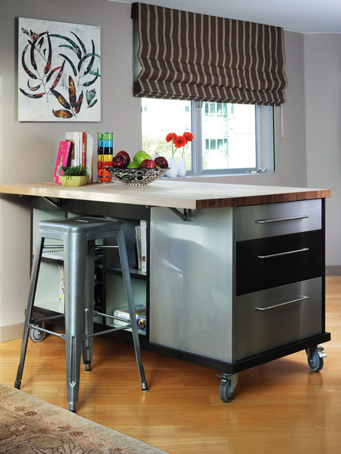 like this idea for a custom kitchen island on castor wheels, where