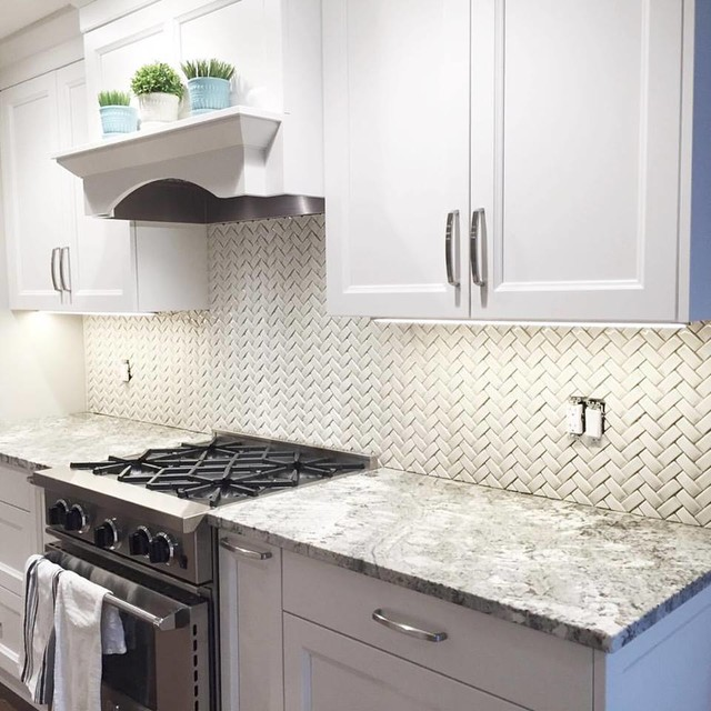 Sonoma Tilemakers Arched Herringbone Backsplash