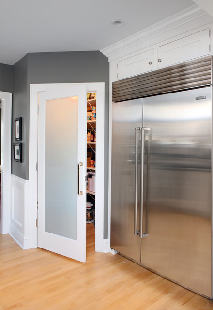 Transitional Kitchen by Normandy Remodeling. Normandy Remodeling. Frosted  Glass Pantry Door