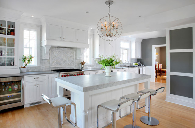 Soothing White and Gray Kitchen Remodel - Transitional - Kitchen ...