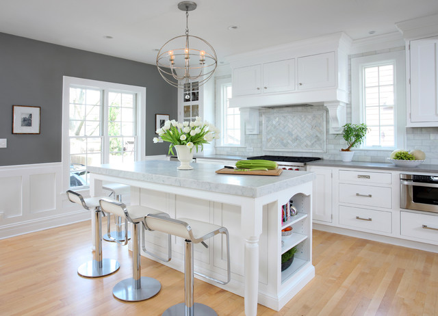 Soothing White and Gray Kitchen Remodel - Traditional - Kitchen ...