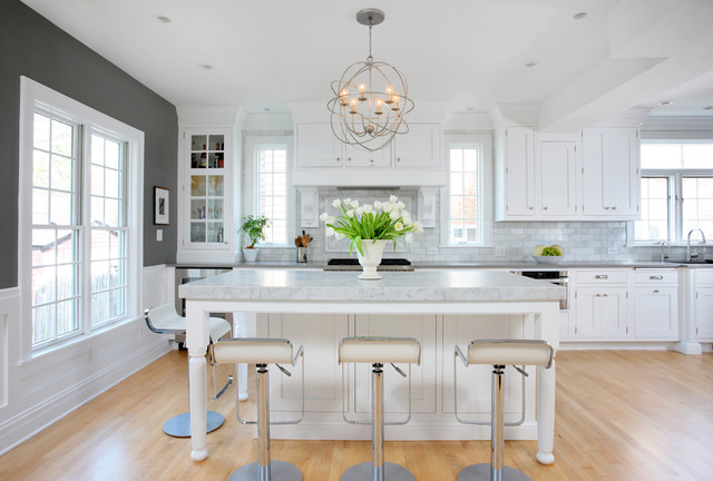 Soothing white and gray kitchen remodel transitional for Gray and white kitchen decor