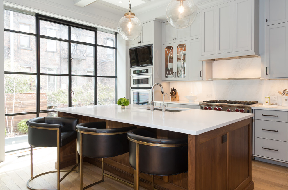 Inspiration for a transitional kitchen remodel in New York