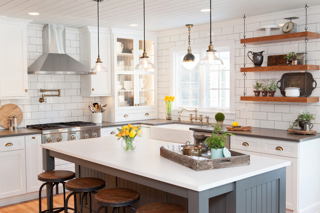 Farmhouse Kitchen sophisticated nostalgia kitchen in deer park - farmhouse - kitchen