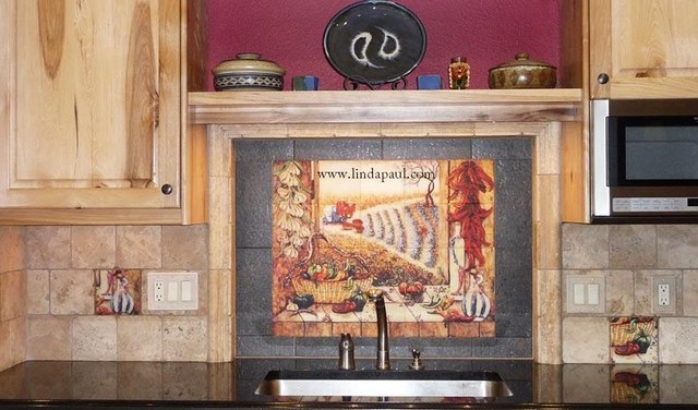 Southwest Kitchen Design and Chili Pepper Backsplash - traditional ...