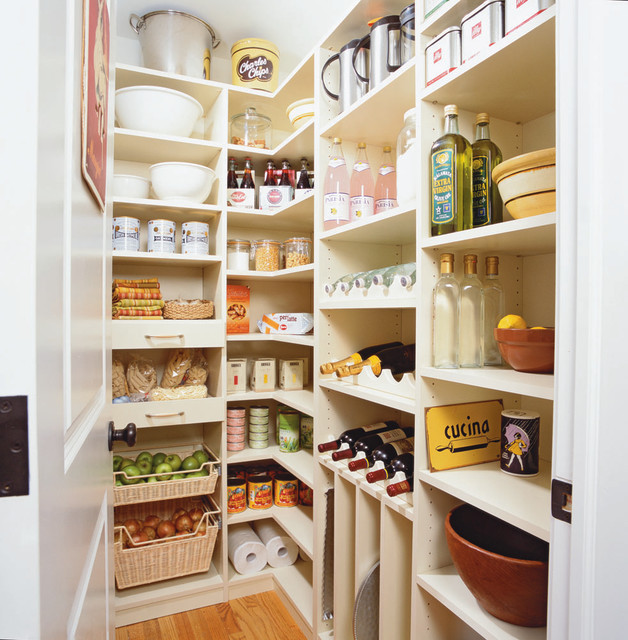 spacious kitchen pantry traditional kitchen - Walk In Pantry Design Ideas