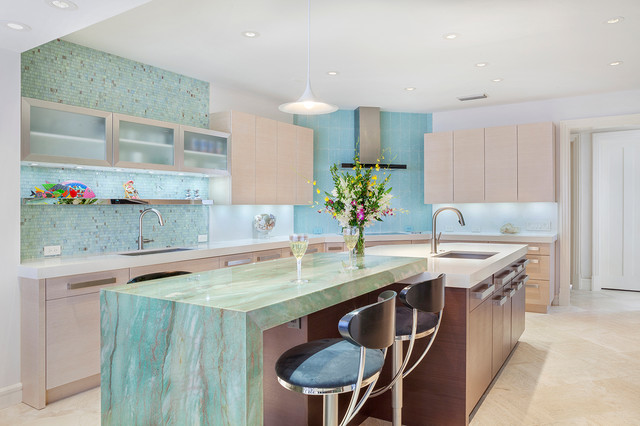 Spacious Newly Completed Boca Kitchen With Aqua Accents Contemporary Kitchen