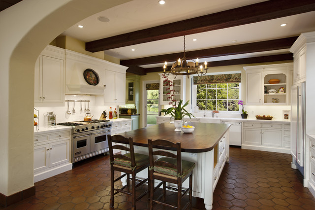 Inspiration For A Large Mediterranean U Shaped Terra Cotta Floor Kitchen Remodel In Santa