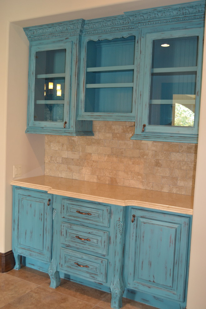 Spanish Flare - Turquoise Cabinetry - Mediterranean ...