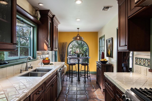 Spanish revival bungalow galley kitchen dining nook for Galley kitchen with breakfast nook