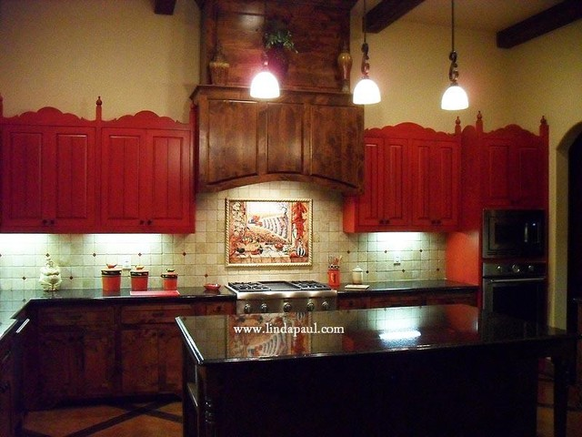 Spanish revival kitchen and backsplash mural kitchen for Spanish style kitchen backsplash