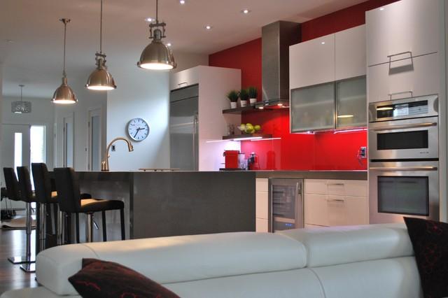 Splash of red contemporary-kitchen
