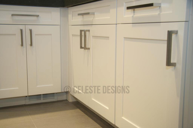 Kitchen cabinets handles ideas - Square Bar Pulls By Celeste Designs On White Cabinets