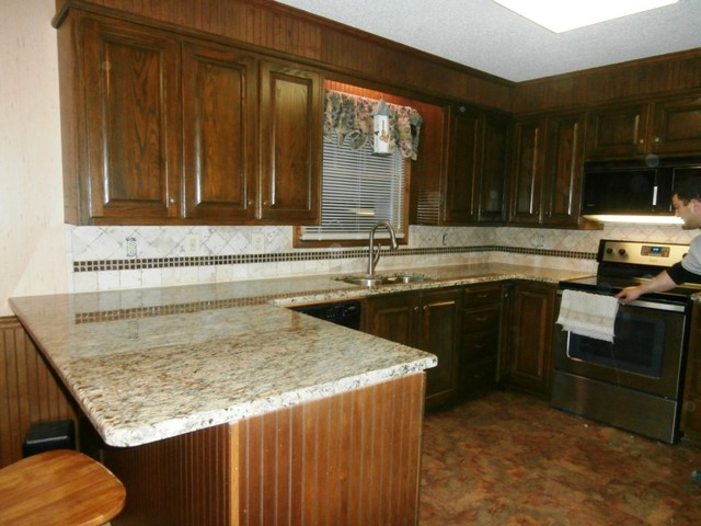 ST. CECILIA Granite on Dark Cabinets - Traditional - Kitchen - charlotte - by Fireplace ...