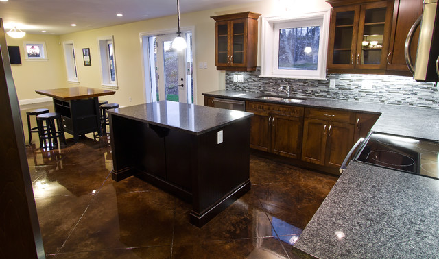 Stained concrete floors traditional kitchen other for Concrete kitchen floor ideas