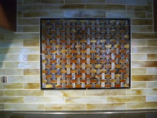 Stained glass tile backsplash