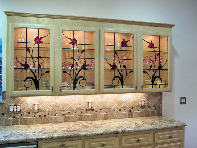 Stained Gl Cabinet Inserts Hawkings Residencetraditional Kitchen Orange County