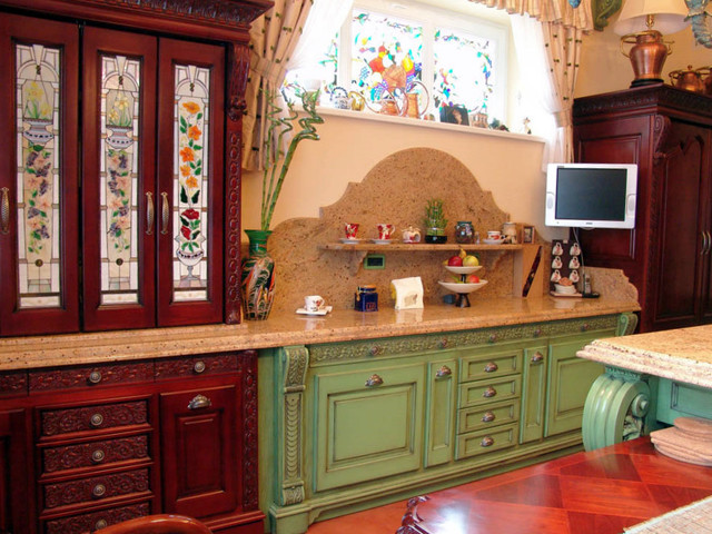 Stained Glass Cabinets and Windows - Traditional - Kitchen - new york - by Casa Loma Art Glass