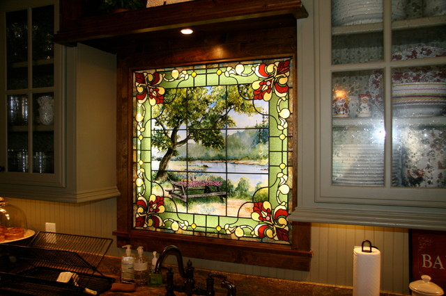 Kitchen stained glass window - Traditional - Kitchen ...