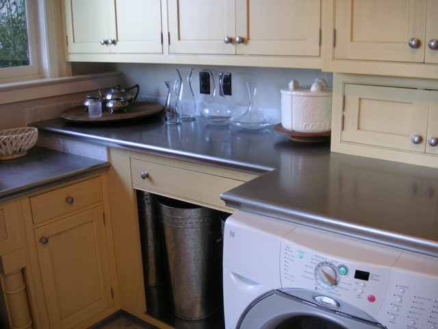 Stainless hand honed countertops traditional kitchen for Traditional kitchen equipments