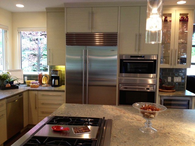 Stainless Steel Appliances with light cabinets contemporary kitchen