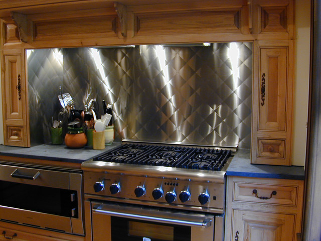 Stainless Steel Backsplash   Brooks Custom Contemporary Kitchen