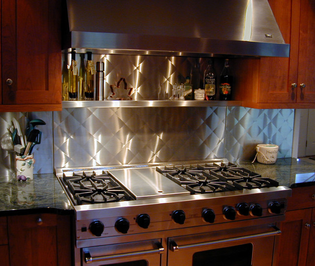 Stainless steel backsplash brooks custom traditional Kitchen backsplash ideas stainless steel