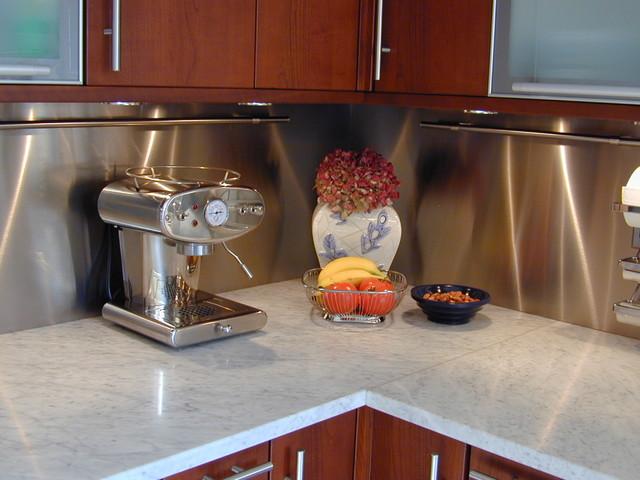 Stainless Steel Backsplash Contemporary Kitchen New York