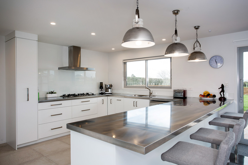Stainless Steel Benchtops and Pendant Lights - Modern ...