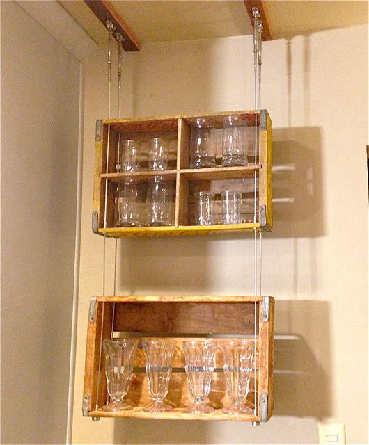 Stainless Steel Cable Suspended Shelving Modern