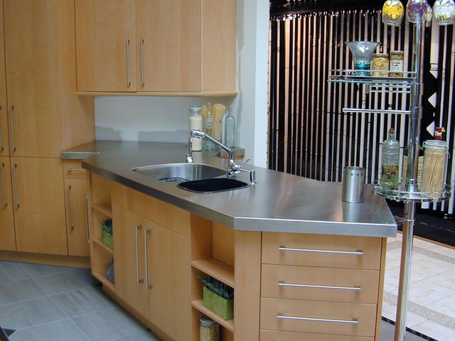 Stainless steel countertop brooks custom modern for Stainless steel countertops cost per sq ft