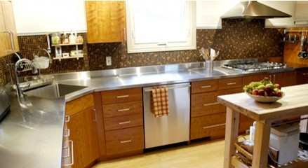Stainless Steel Sink Countertop : Stainless steel countertop with a corner sink by Ridalco transitional ...