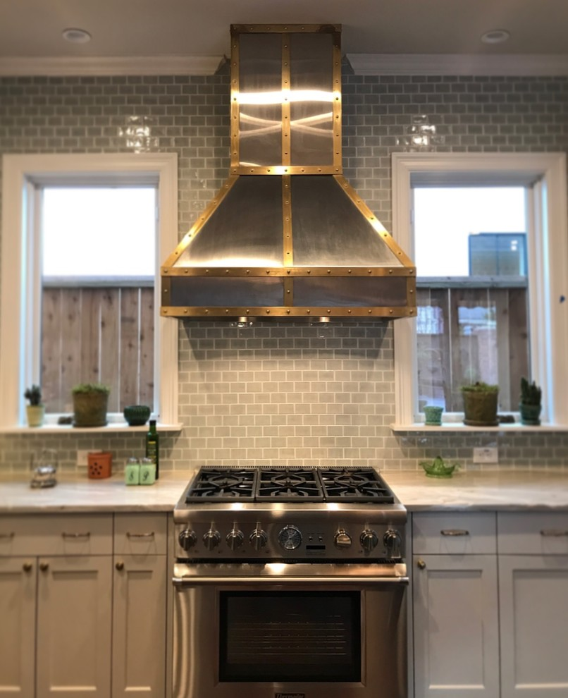 Stainless Steel Range Hood with Bronze Strapping ...