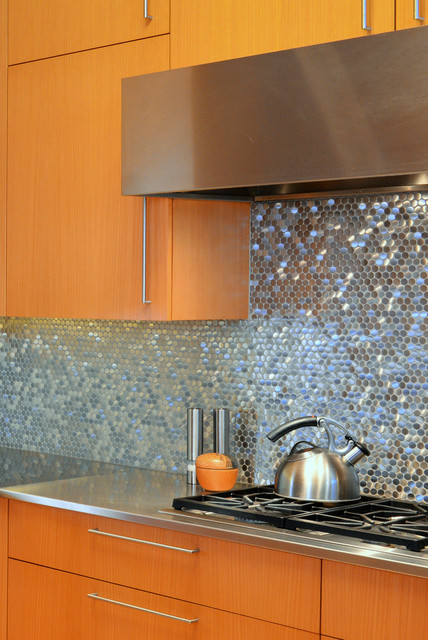 Stainless Steel Sparkles On Backsplash