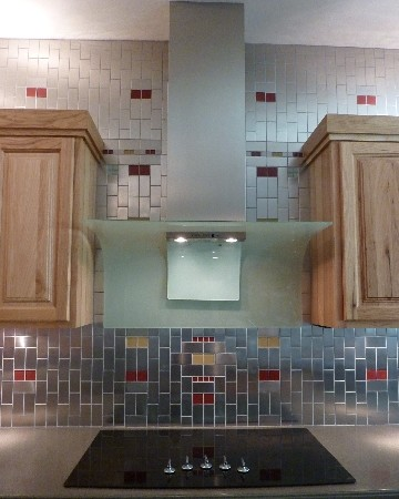 Stainless Steel Subway and Glass Mosaic Tile Kitchen Update ...