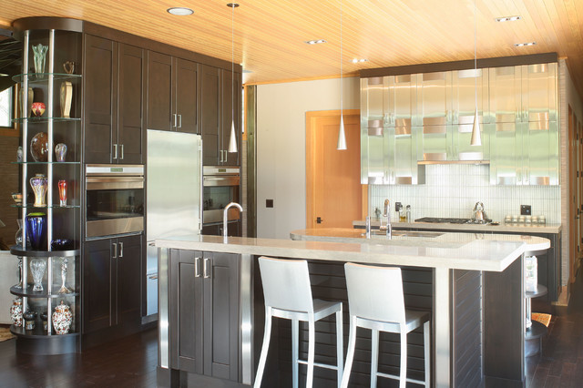 Stainless steel upper cabinets in kitchen contemporary-kitchen