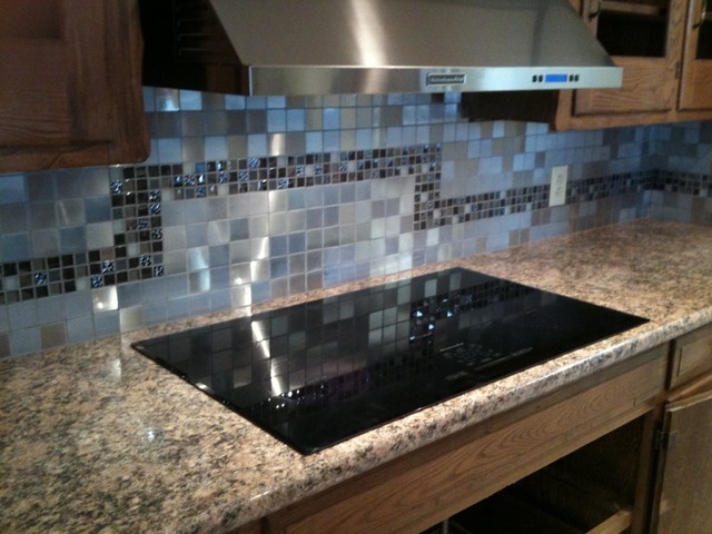 Stainless tile contemporary-kitchen