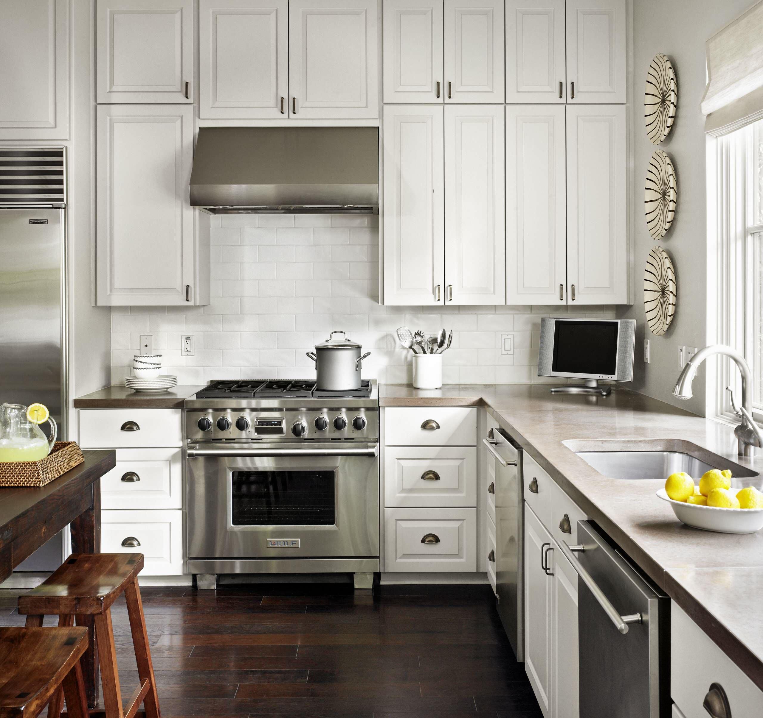 White Cabinets Concrete Countertops Co Ideas Photos Houzz