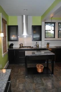 Starmark Alder Java Cabinets, Caledonia Granite Tops, Vinyl Floor