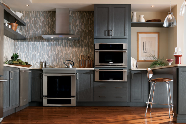 StarMark Cabinetry Kitchen with Gray Cabinets - Transitional ...