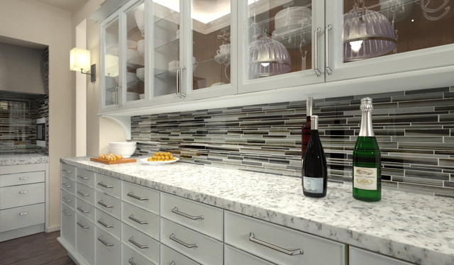 Starry Night Linear Mosaic Tile Kitchen Backsplash Contemporary Kitchen